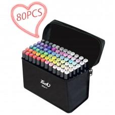 Երկկողմանի նկարչական մարկերներ 80 գույն