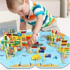 """Մանկական զարգացնող խաղ """"Աշխարհի քարտեզ"""", փայտից"""